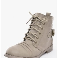 TAUPE Susana Ankle Lace Up Combat Boots | $10.0 | Cheap Trendy Boots Chic Discount Fashion for Wome