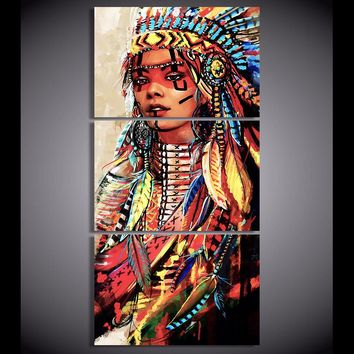 Canvas Wall Art: Beautiful Native American Woman Print on Canvas