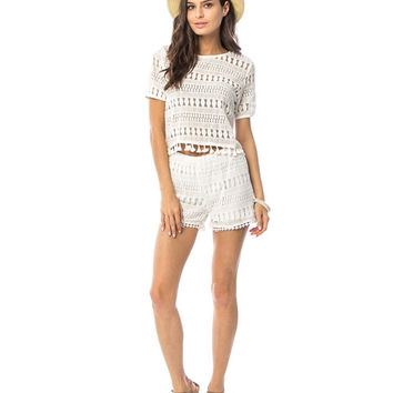 White Crochet Lace with Tassels Two Piece
