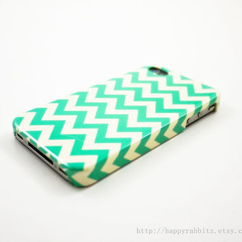 Mint Chevron iPhone 4 Case iPhone 4s Case iPhone 4 by happyrabbitz
