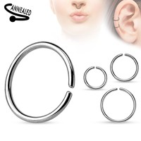 Annealed and Rounded Ends Cut Ring Surgical Steel Body Jewelry Piercing Jewelry 18ga