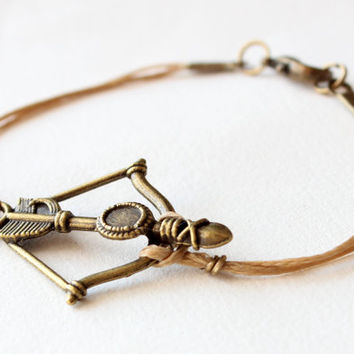 Bow and arrow bracelet light brown wax cotton cord bronze charm gift for her friendship best friend birthday gift christmas gift