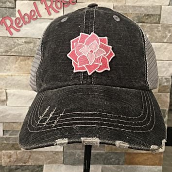 Distressed Trucker Cap ~ Rebel Rose