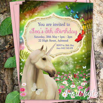Unicorn Garden Birthday Invitation Design - rainbow flowers butterflies - customised digital download file to print yourself - kids party