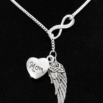 Guardian Angel Wing Mom Infinity In Memory Heaven Y Lariat Necklace