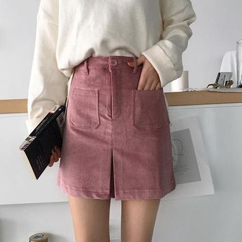 Faldas Largas Verano 2018 spring Corduroy retro Shorts A skirt Ladies Solid color pocket Harajuku Vadim High waist zipper skirt