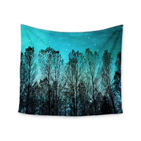 "Sylvia Cook ""Dark Forest"" Blue Trees Wall Tapestry"