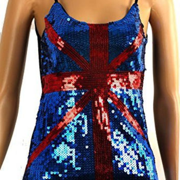 Womens Sequin British Flag ( kinda) in Red and Blue Tank Top