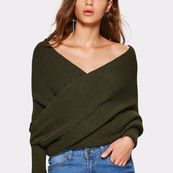 Gamiss Women Crossed Front Wrap Chunky Sweater Long Sleeve V-Neck Knitted Autumn Winter Sweaters Fashion Casual Pullovers