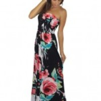 Black Floral Print Maxi Dress With Pockets - A90