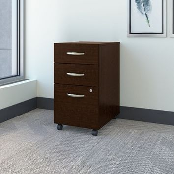 Bush Business Furniture Components 3 Drawer Mobile File Cabinet, Mocha Cherry, Standard Delivery Item # 736472