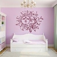 Wall Decals Vinyl Decal Sticker Children Kids Nursery Baby Room Interior Design Home Decor Sun Moon Crescent Dual Ethnic Stars Night Symbol Sunshine Kg762
