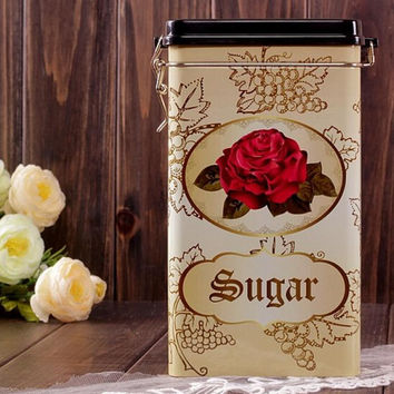 Large Sealed Red Rose Flower Sugar Kitchen Coffee Tea Jar Tin Metal Home Decor Can