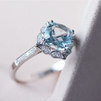 VS 7mm Cushion Cut Blue Aquamarine Ring Solid 14K White Gold Aquamarine Ring Wedding Ring Diamond Engagement Ring Aquamarine Jewelry