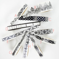 Black + White Pattern Washi Tape