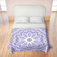 Duvet Cover Thin Fleece Microfiber Twin, Queen, King from DiaNoche Designs by Monika Strigel Home Decor and Bedding Ideas - Fairy Dream Mandala Purple