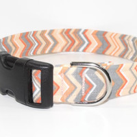 Chevron Dog Collar Orange Grey Peach