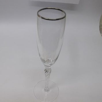Lenox Madison flute glass Crystal Platinum  Made in USA Mt Pleasant PA