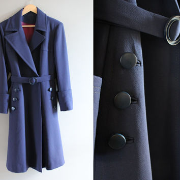 Tailor made high-end royal navy blue wool double breasted wool long coat, trench wool coat, true vintage, 80s, size m - l