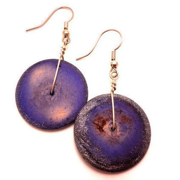 Wooden Disk Earrings in Purple with Silver Speckled by Septagram