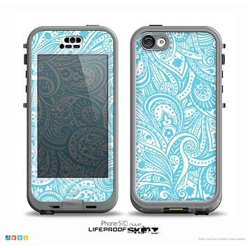 The Light Blue Paisley Floral Pattern V3 Skin for the iPhone 5c nüüd LifeProof Case