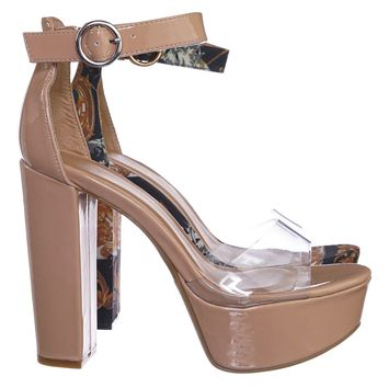 Shocking12 Chunky Block Heel Lucite Clear Sandal - Transparent Platform Open Toe