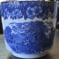 Blue Toile Transferware Flower Planter Cache Pot Pastoral Rest at Wheat Harvest Scene Vintage Wedgwood