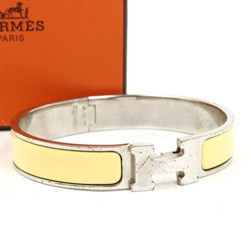 Auth HERMES Clic Clac PM Bangle Bracelet Enamel Yellow Silver #5598