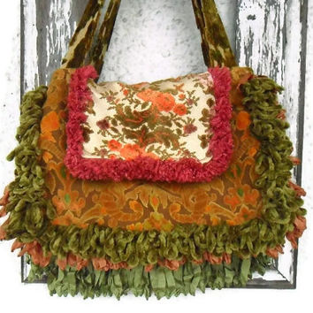 Victorian Gypsy Bag Purse Carpet Bag Antique and Vintage Trim and Cut Velvet
