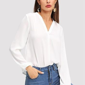 White V-Neck Blouse