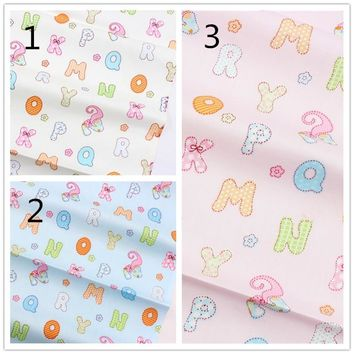 16229124 , English alphabet white cotton fabric, width 1.6 meters, DIY handmade crib bedding sets, pillows, tablecloths