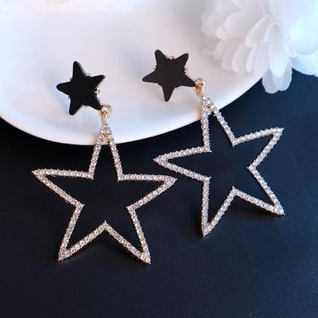 EASYA High Quality Hollow Out Star Shape Broncos Earrings Jewelry Long Drop Dangle Chain Earrings Gift For Women Girls