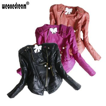 Girls Winter Faux Leather Jacket Coat