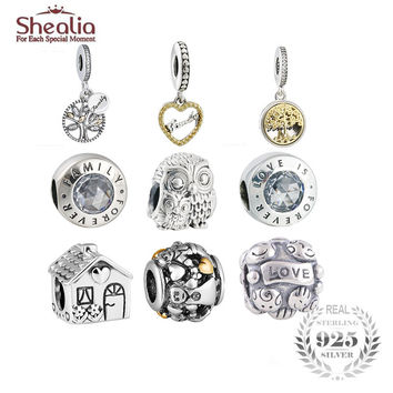 SHEALIA Two Tone Family Tree Locket Pendant Charms 925 Sterling Silver Loving Owl Family Forever Beads Fit Pandora Bracelets