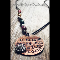 "Handstamped music lyrics ""u belong among the wildflowers"" necklace / Tom Petty music lyric jewelry / flower necklaces / beaded long necklace"