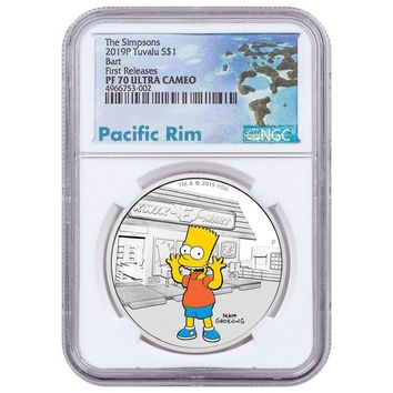 2019 Tuvalu 1 oz Silver The Simpsons Bart Proof NGC PF-70 (First Releases)