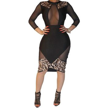 New Women Dress Sexy Sheath Mesh Patchwork Bodycon Bandage Dress Long Sleeve Knee Length Party Evening Club Dresses S2793