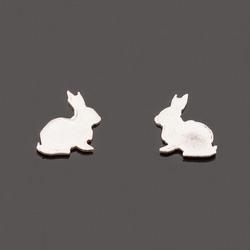 Silver bunny post earrings. Bunny silhouette earrings. Rabbit stud earrings. Silver studs. Birth year jewelry