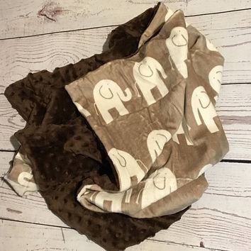 Personalized Baby Blanket,Brown Minky Blanket,Baby Gift,Monogrammed,Elephant Minky Blanket,Baby Shower Gift,Crib Bedding,Baby Bedding