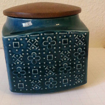 Sadler Teal Blue Ceramic Container with Wooden Lid. Made in England.