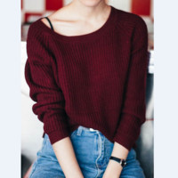 HOT FREE SIZE LOOSE SWEATER Wine red