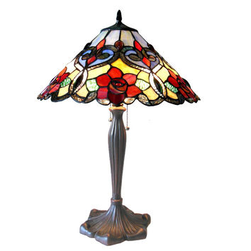 "Lindsay, Tiffany-Style 2 Light Rosestable Lamp 17"" Shade"
