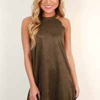 Soho Spotlight Faux Suede Shift Dress in Army Green