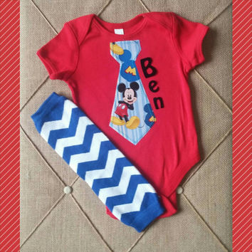 Mickey Mouse Tie Onesuit - Personalized - Red Blue Boy Birthday - Cake Smash Outfit - First Disney Shirt - Tie Onesuit - First Birthday