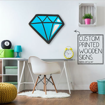 Shine Like A Diamond Trendy Dorm Room Teen Room Wall Art Unique Wood Sign Home Decor Wedding Gift