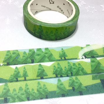 forest Tree washi tape 7M rainforest Green tone green hills Green tree Masking tape green world  camping scenes landscape sticker tape decor