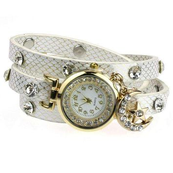 """ON SALE - """"Look To The Moon And Stars"""" Sparkly Wrap Bracelet Watch in White"""