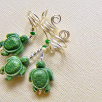 Sea Turtles Hair Accessories, Loc Coils , Krown Jewelry, Natural Hair Jewelry, Loc Adornments, Dreadloc Jewelry,