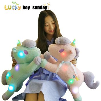 Led Grown Light Rainbown Unicorn plush Toy Cute Animal Stuffed Plush Flashing Unicorn Dolls KidsToy Gift For Children And Her