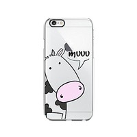 Cow Cute Animal Clear Transparent Plastic Phone Case Phone Cover for Iphone 6 6s_ SCORPIOshop (VA297, iphone 6)